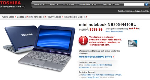 Toshiba NB305-N410BL Mini Notebook